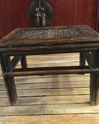 Wooden Stool with Rattan Top