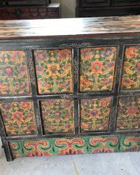 Mid Twentieth Century Tibetan Cabinet Floral Design