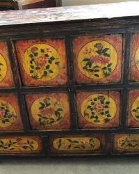 Larger Tibetan Cabinet with Orange and Yellow Floral Design